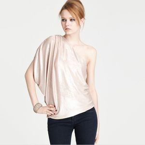 Alice + Olivia Hannah One Shoulder Metallic Blouse